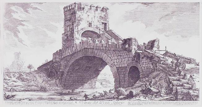 painting of Ponte Milvio in Rome, as it was once